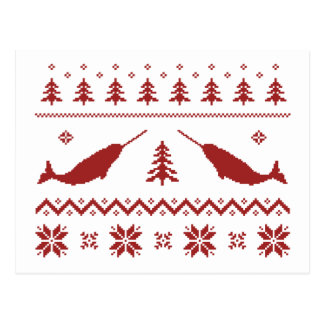 Suéter feo del navidad de Narwhal Postal