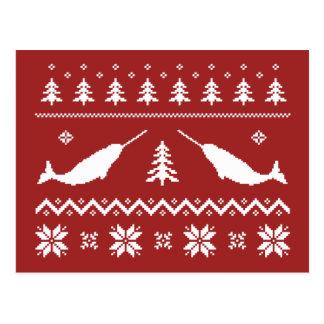 Suéter feo del navidad de Narwhal Tarjeta Postal