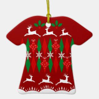Suéter feo del navidad adorno de cerámica en forma de playera