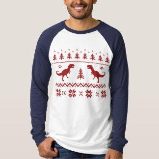 Suéter feo del navidad del dinosaurio de T-Rex