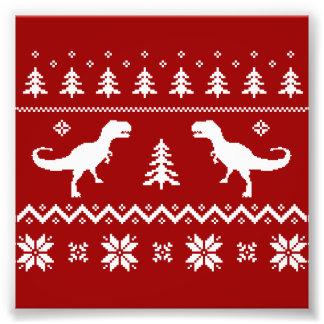 Suéter feo del navidad del dinosaurio de T-Rex Fotografía