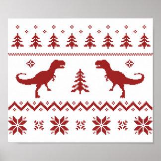 Suéter feo del navidad del dinosaurio de T-Rex Impresiones