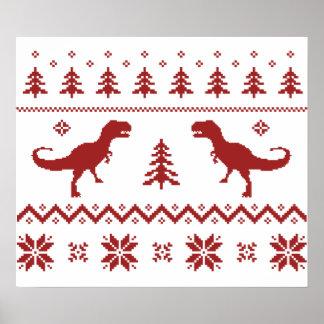 Suéter feo del navidad del dinosaurio de T-Rex Poster