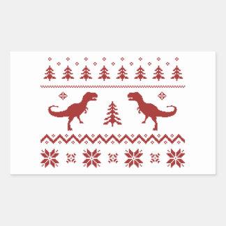 Suéter feo del navidad del dinosaurio de T-Rex Pegatina Rectangular