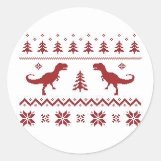 Suéter feo del navidad del dinosaurio de T-Rex Pegatina Redonda
