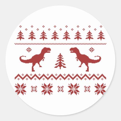 Suéter feo del navidad del dinosaurio de T-Rex Etiquetas Redondas
