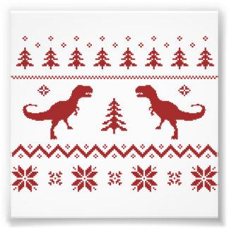 Suéter feo del navidad del dinosaurio de T-Rex Impresiones Fotográficas