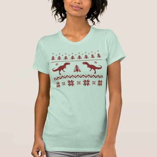 Suéter feo del navidad del dinosaurio de T-Rex Camiseta