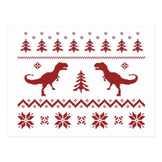 Suéter feo del navidad del dinosaurio de T-Rex Postal
