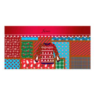 Suéter feo del navidad del muñeco de nieve rojo tarjeta personal