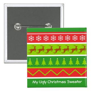 Suéter feo del navidad pin cuadrado