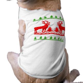 Suéter feo del navidad playera sin mangas para perro