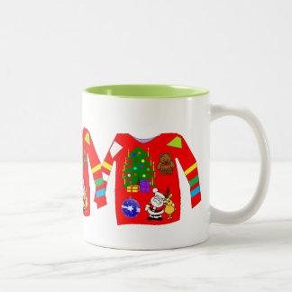 Suéter feo del navidad taza de café