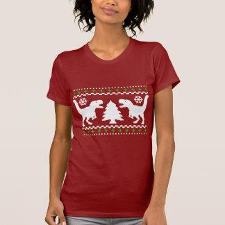 Suéter feo divertido del navidad de T-Rex T Shirts