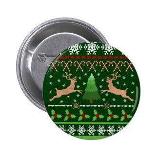 Suéter feo divertido del navidad pin redondo de 2 pulgadas