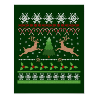 Suéter feo divertido del navidad poster