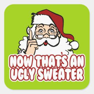 Suéter feo Santa del navidad Pegatina Cuadrada