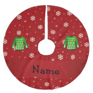 Suéter feo verde conocido de encargo del navidad falda para arbol de navidad de poliéster