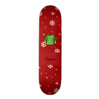 Suéter feo verde conocido de encargo del navidad tablas de patinar