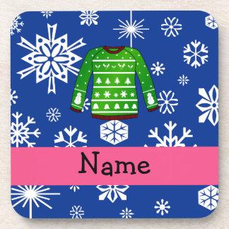 Suéter feo verde conocido de encargo del navidad posavasos de bebida