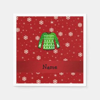 Suéter feo verde conocido de encargo del navidad servilleta de papel