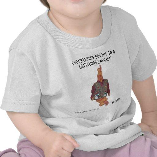 Suéter-ized del navidad del tocino camisetas