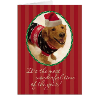 Suéter pegajoso del navidad del perro perdiguero tarjeta de felicitación