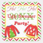 ¡Suéteres feos del navidad Ho! ¡Ho! ¡Ho! Pegatina