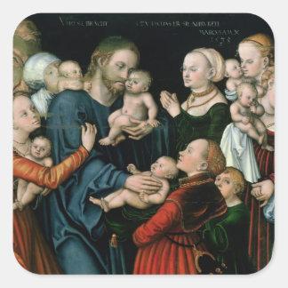 Suffer the Little Children to Come Unto Me, 1538 Square Sticker