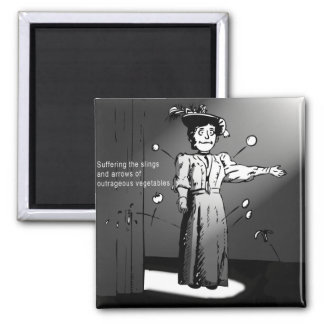 Suffering slings of ourtrageous vegetables! refrigerator magnet