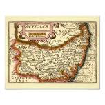 """""""Suffolck"""" Suffolk County Map 4.25"""" X 5.5"""" Invitation Card"""