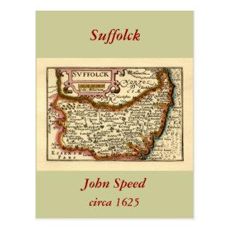 Suffolck Suffolk County Map Post Card