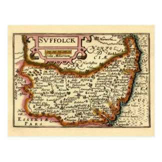 """Suffolck"" Suffolk County Map Postcard"