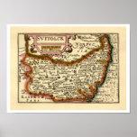 """Suffolck"" Suffolk County Map Print"