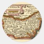 """Suffolck"" Suffolk County Map Round Stickers"
