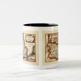 """Suffolck"" Suffolk County Map Two-Tone Coffee Mug"