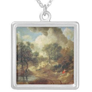 Suffolk Landscape, 1748 Square Pendant Necklace