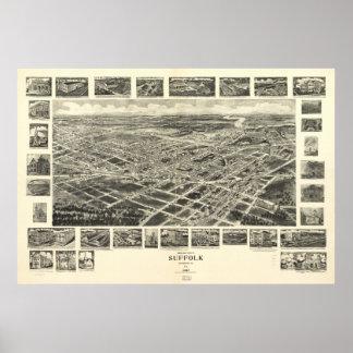 Suffolk Virginia 1907 Antique Panoramic Map Poster