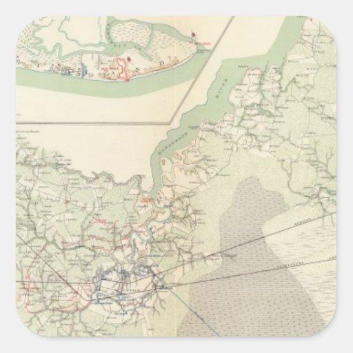 Suffolk y vecindad pegatina cuadrada