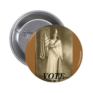 suffrage liberity lady, VOTE BUTTON brown bkgnd