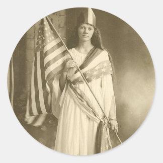 suffrage liberity lady vote classic round sticker