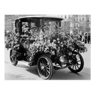 Suffragette Flower Car: 1914 Postcard