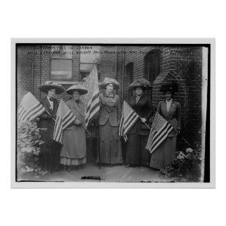 Suffragettes Holding American Flags Poster