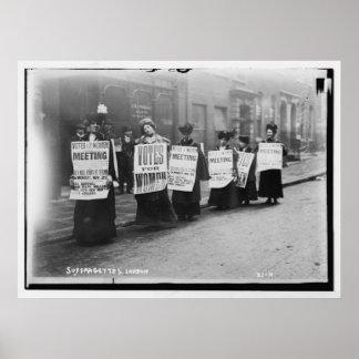 Suffragettes que marchan de Londres Póster