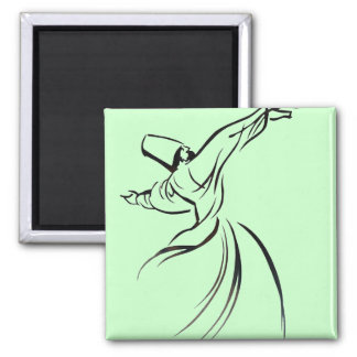 Sufi Meditation (Black) 2 Inch Square Magnet