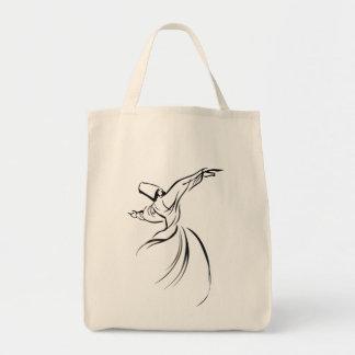 Sufi Meditation (Black) Tote Bags