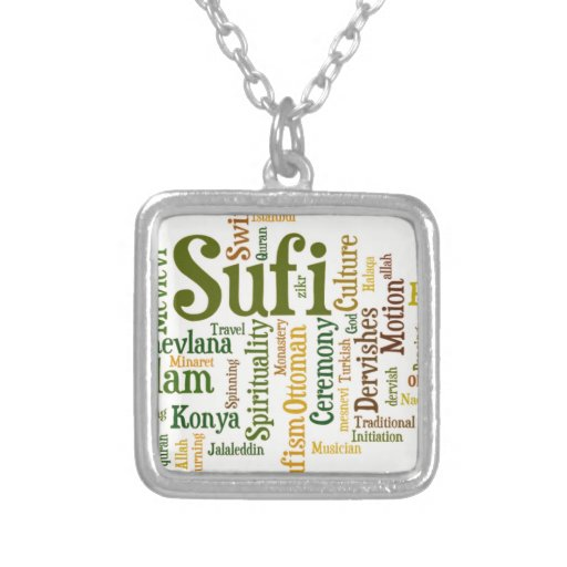 Sufi Word tag cloud Personalized Necklace