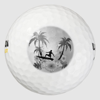 Sufing, surfboarder with palm and fowers golf balls