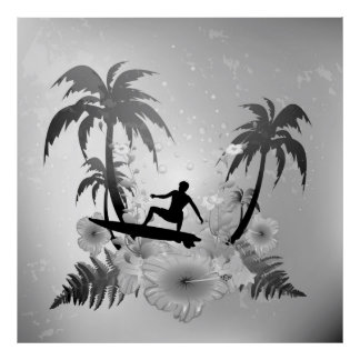 Sufing, surfboarder with palm and fowers poster