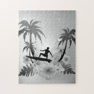 Sufing, surfboarder with palm and fowers jigsaw puzzle